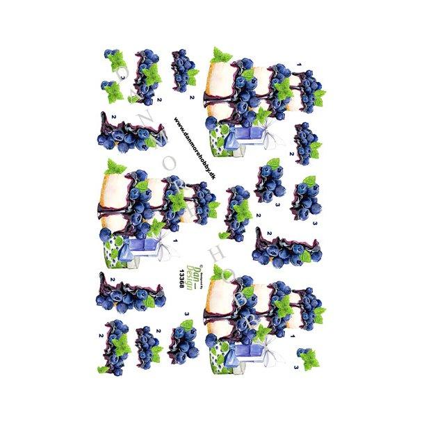 3D ark lagkage med blåbær