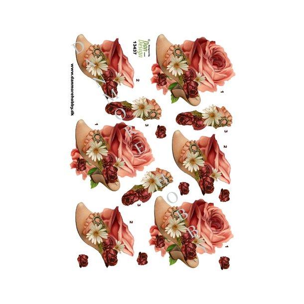 3D ark damesko med blomster