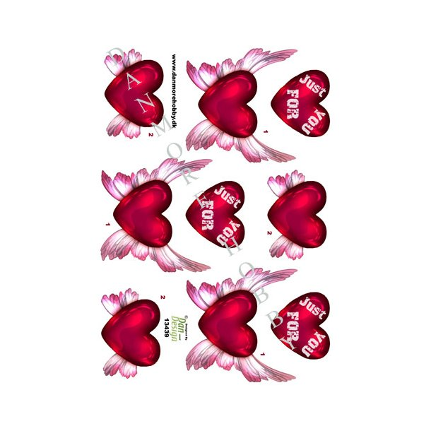 3D ark hjerter med vinger