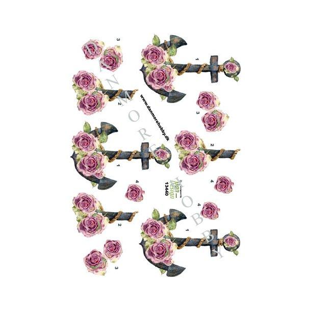 3D ark anker med blomster