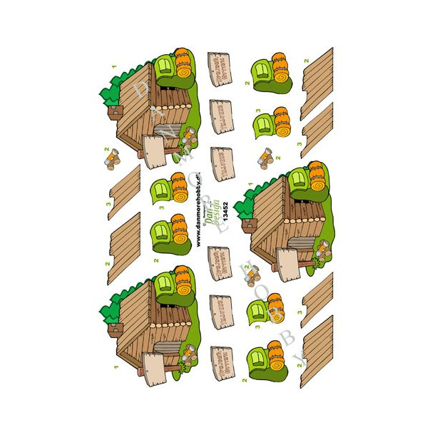 3D ark spejderhytte m.m.