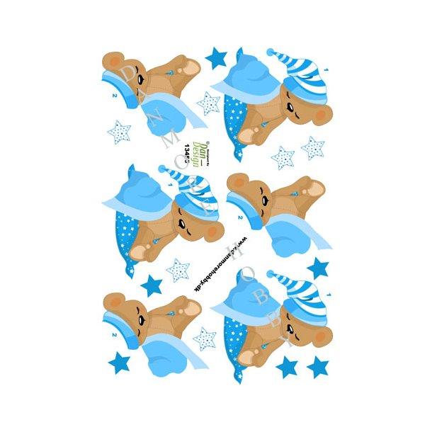 3D ark sovende bamse blå