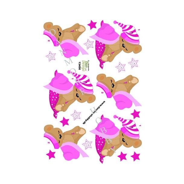 3D ark sovende bamse pink