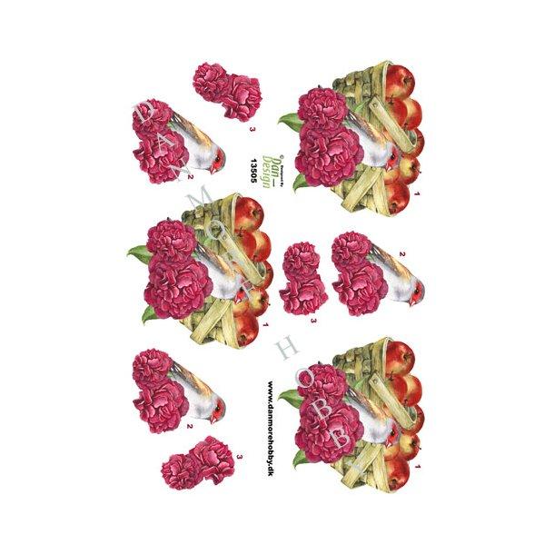 Frugtkurv med fugl og blomster