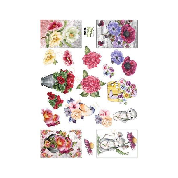 3D ark Dan-design blomster, mus og fugl