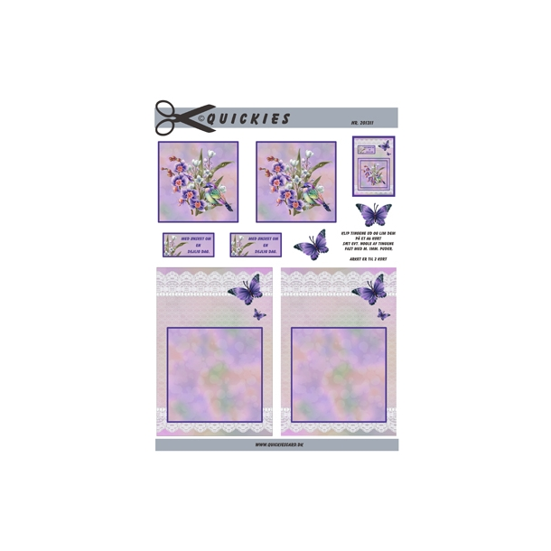 3D ark. Smuk forårsbuket i lilla farver