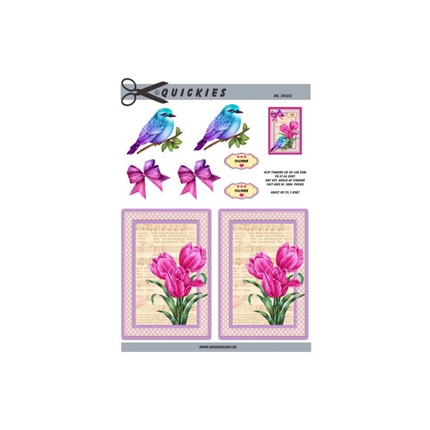 3D ark. Smuk fugl og lyserøde tulipaner