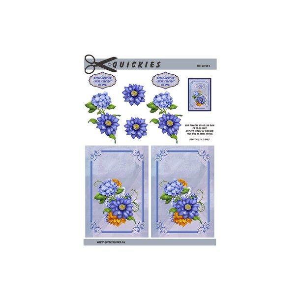 Blå blomster og blå baggrund