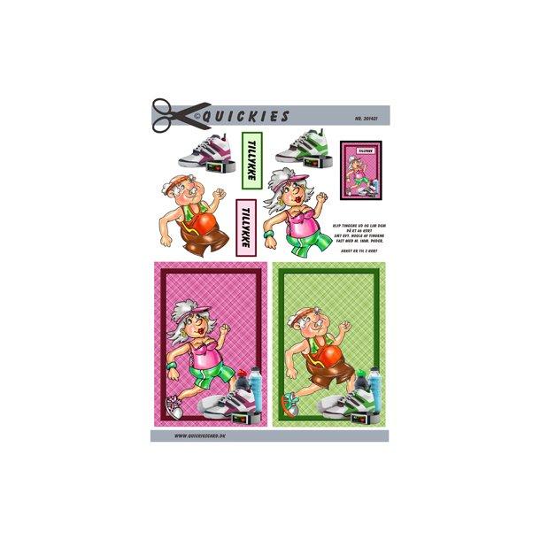 Kondiløber, dame og mand, Quickies card