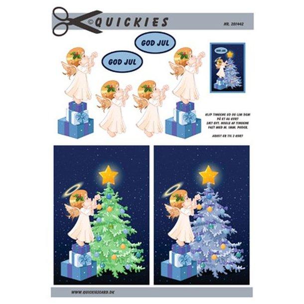 Juleengel pynter juletræ