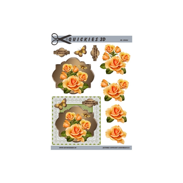3D ark. Smukke gule roser i flot ramme