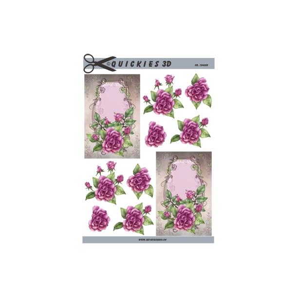 3D ark.  lyserød rose med flot baggrund