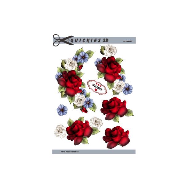 Blomsterranke med stor rød rose