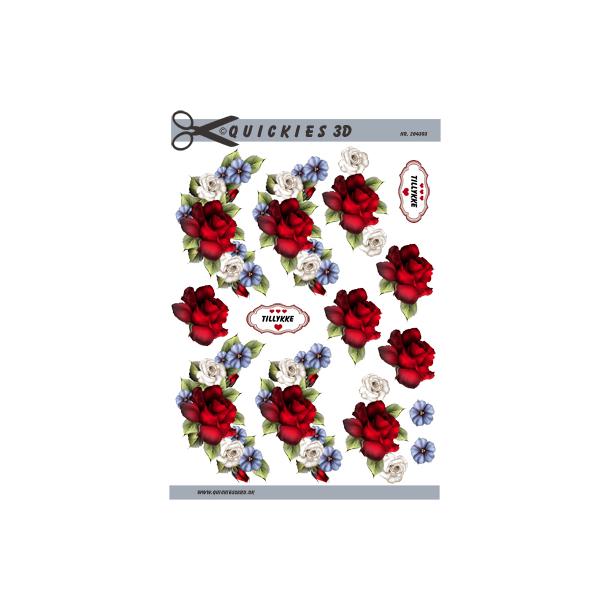 2 Blomsterranke med stor rød rose