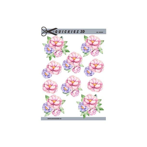 3 blomster i sarte farver