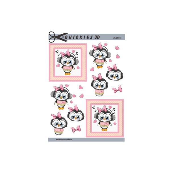 Kær pingvin pige med hørebøffer i firkant