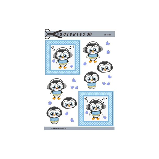 Kær pingvin dreng med hørebøffer i firkant