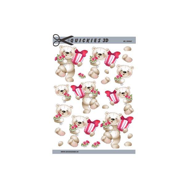 Glad bamse med gave og blomster