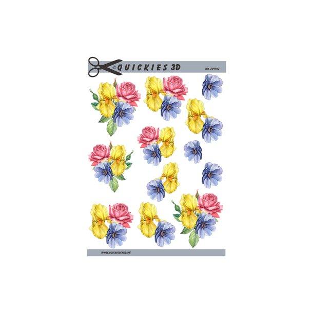 3 farverige blomster