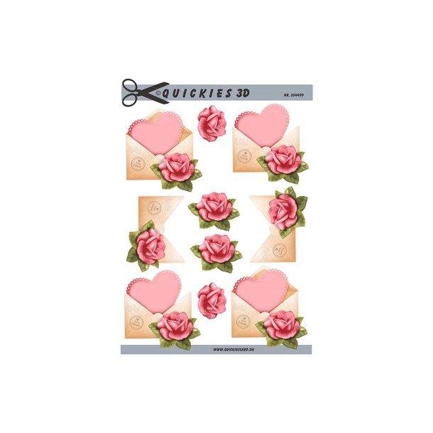 Hjerte i kuvert og rose