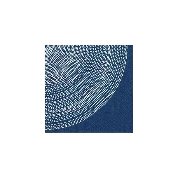 Hvid cirkel på blå frokostserviet