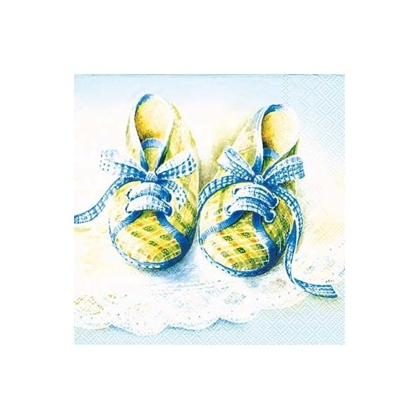 Baby sko blå frokostserviet