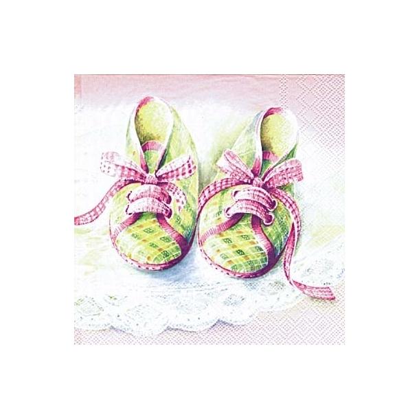 Baby sko rosa frokostserviet