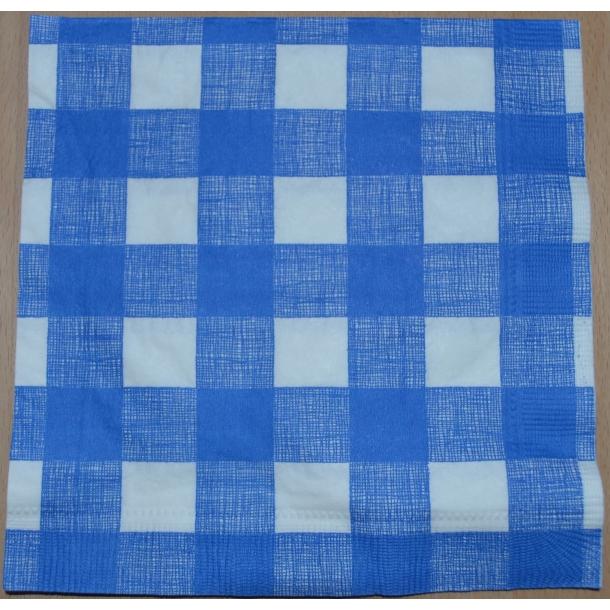 Blå og hvid ternet serviet
