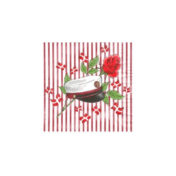 Hvid serviet med rød studenterhue og rød striber.