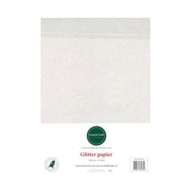 Glitter papir A4 10ark hvid