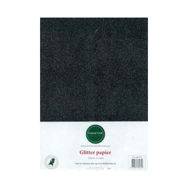 Glitter papir A4 10ark sort