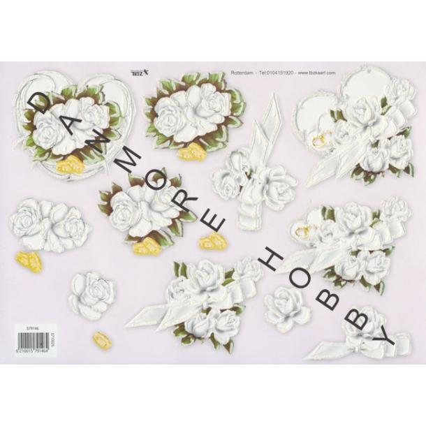 3D ark. Hvide blomster med fint glimmer.