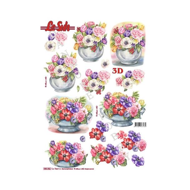 3D ark udstanset blomster i vase