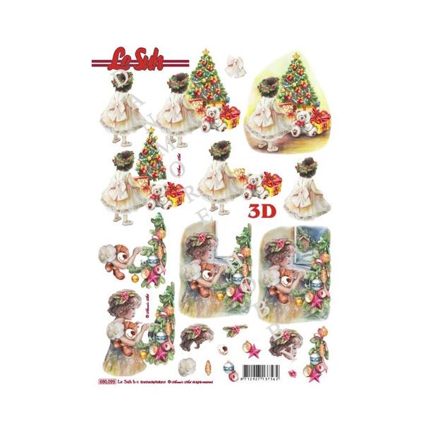 3D ark udstanset pige ved juletræ