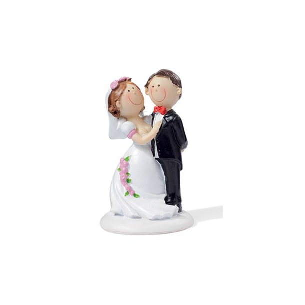 Brudepar stående på fod 9cm