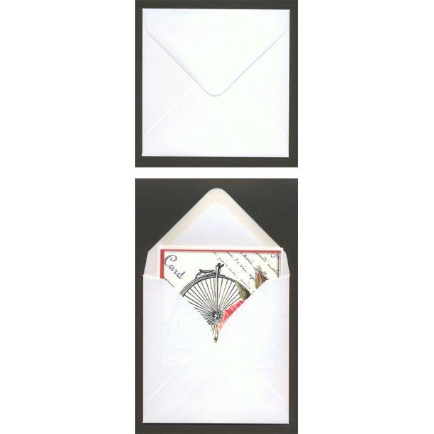 Kuvert 11,6x11,6cm hvid m/spids 10 stk