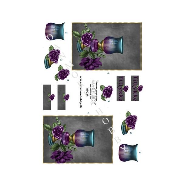 3D ark Dan-quick lampe med blomst