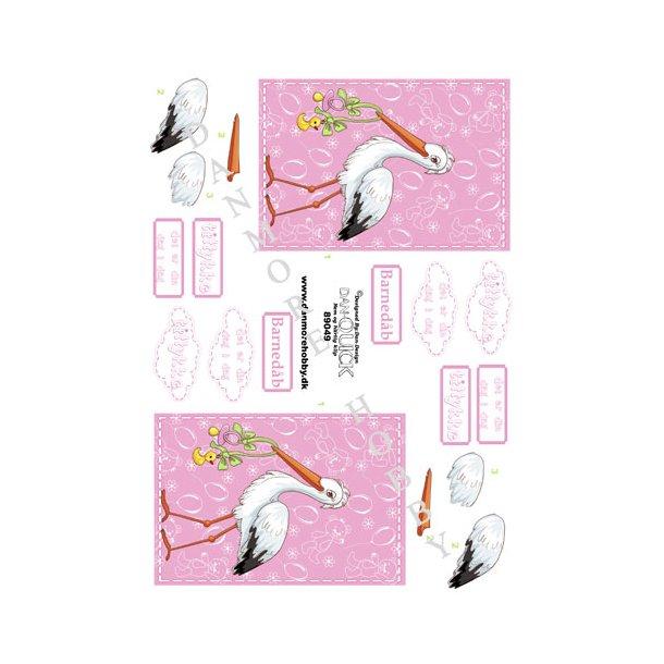3D ark Dan-quick stork lyserød